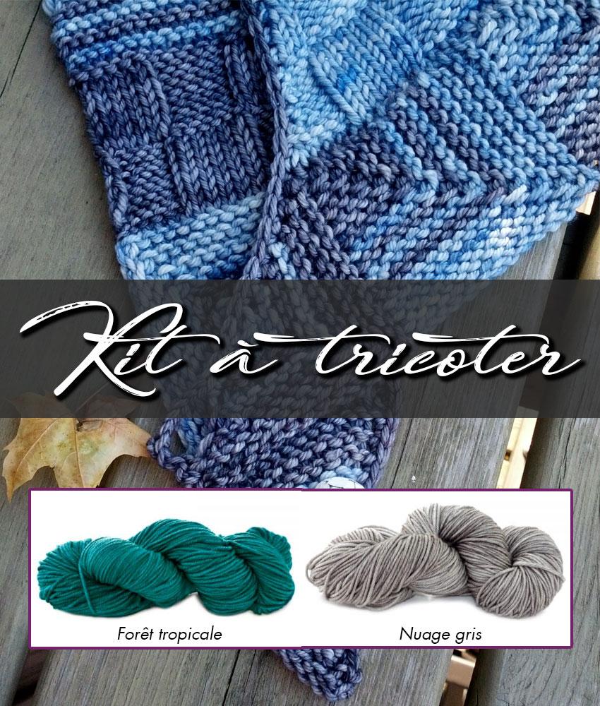 Kit à tricoter | Patron de tricot - Châle Week-End et laines teintes Fôret tropicale et Nuage gris
