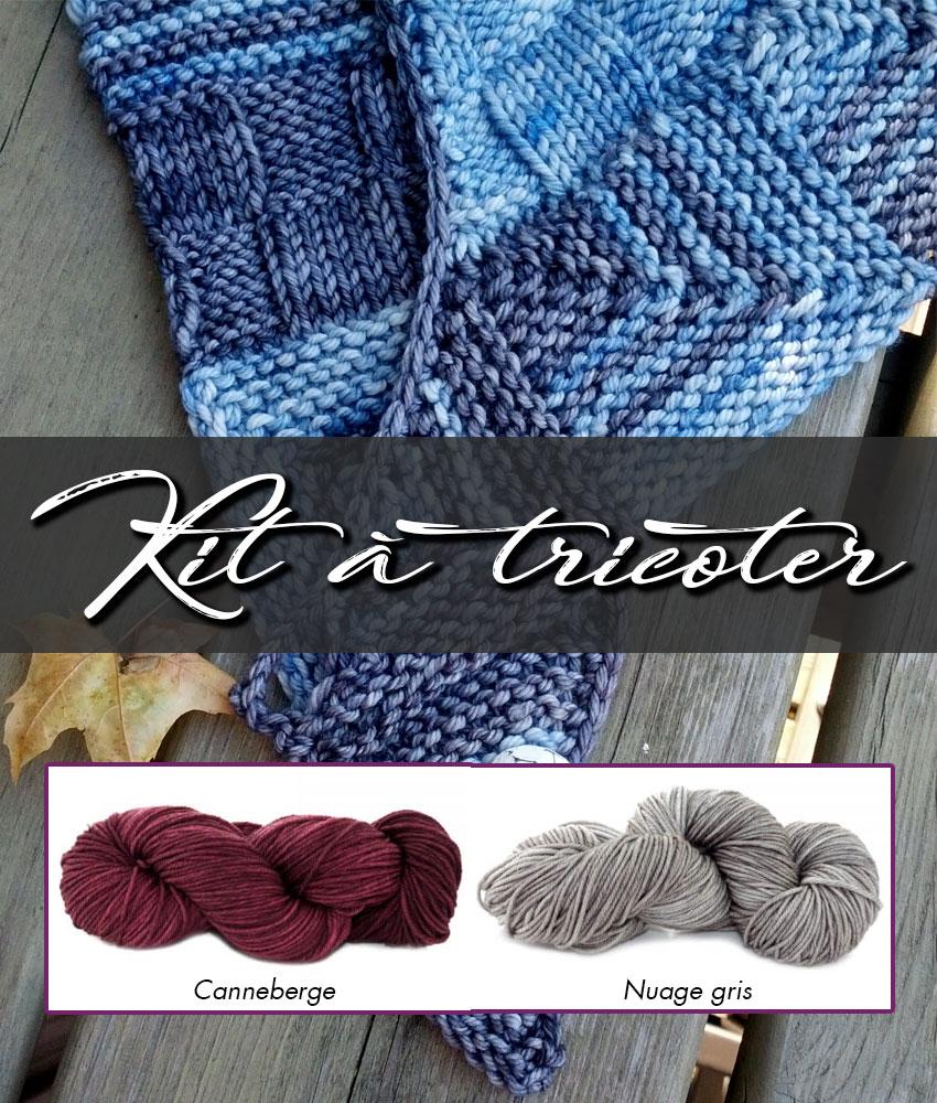 Kit à tricoter | Patron de tricot - Châle Week-End et laines teintes Canneberge et Nuage gris
