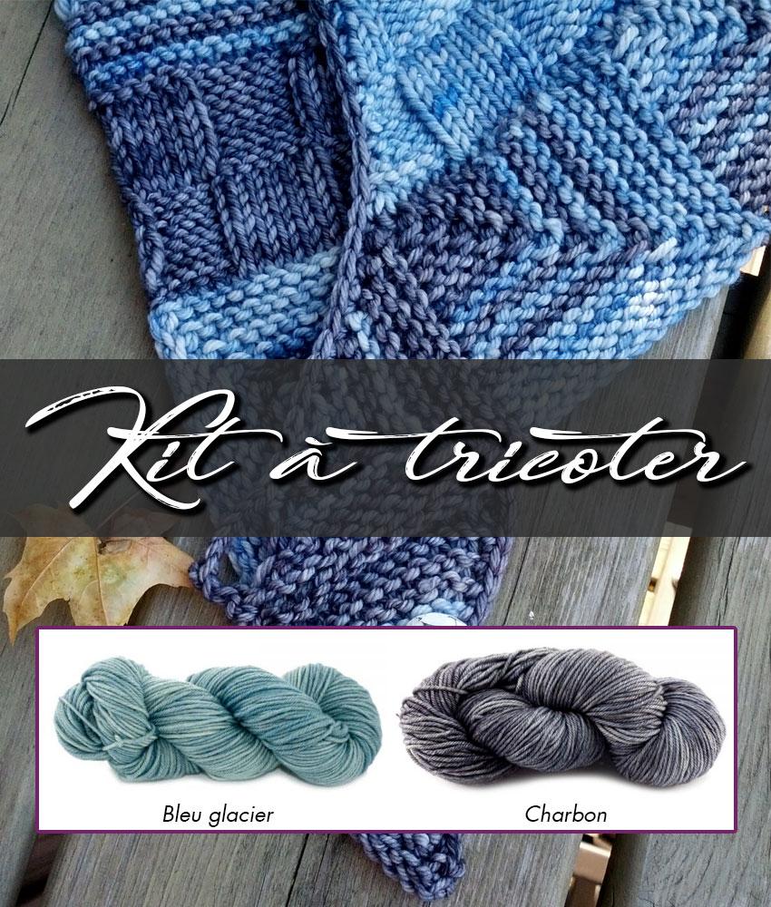 Kit à tricoter | Patron de tricot - Châle Week-End et laines teintes Bleu glacier et Charbon