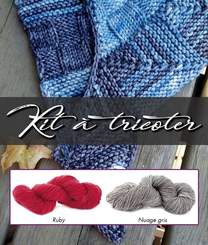 Kit à tricoter | Patron de tricot - Châle Week-End et laines teintes Ruby et Nuage gris