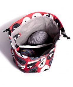 Sac à tricot avec pochette de rangement - Mouton ronds sur fond rouge - fait main Artigina
